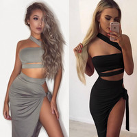 Strapless Hollow Split Strappy Set Two-Piece Mini Dress