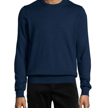 Long-Sleeve Cotton Crewneck Sweater, Blue, Size: