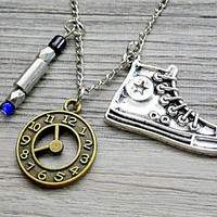 Doctor Who: 10th Doctor's / Time Lord's blue sonic screwdriver and Converse sneakers charm necklace