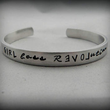 GIRL boss Revolution - Hand Stamped Bracelet - Girl Boss - Boss Lady - Lady Boss - Gift for Boss - Strong Women - kg4748