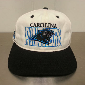 Vintage 90's Carolina Panthers #1 Apparel Made In USA Snapack Hat NFL Football Throwback Style