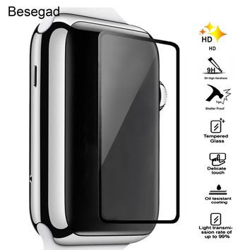 Besegad Tempered Glass Screen Protector HD Clear Anti-bubble 9H Hardness Film for Apple Watch iWatch Series 1 2 38mm 42mm