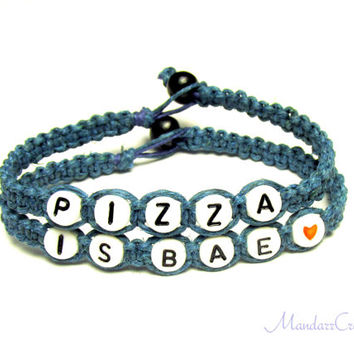 Pizza is Bae, Set of Two Aquamarine Hemp Bracelets, Jewelry for Pizza Lovers