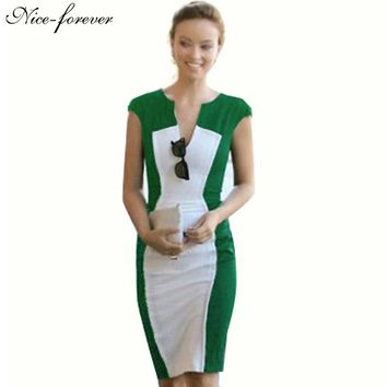 New summer fashion Women Sexy V-neck  OL Ladys Optical Slim Illusion Colorblock Stretch Fitted Bodycon Work Dress bty680
