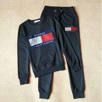 Tommy Hilfiger Fashion Print Long Sleeve Sport Top Sweater Pants Trousers Set Two-Piece