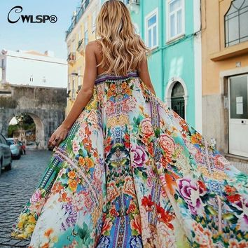 CWLSP Shirred floral Summer Chiffon maxi Dress For Women Sexy Long Beach dresses Strap Holiday Vestido robe femme QL3652