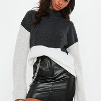 Missguided - Gray Color Block High Neck Sweater
