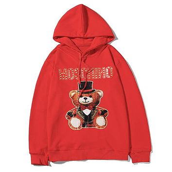 Moschino fashion hot seller casual couple bear print long sleeve circular collar hoodies Red