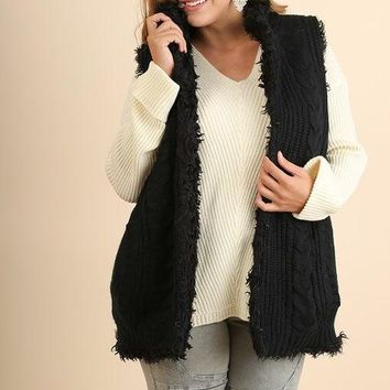 Umgee Thick Knit and Faux Fur Sleeveless Sweater with Pockets