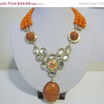 Free Shipping: Orange Necklace, Orange Statement Necklace, Beaded Crystal Necklace, Orange
