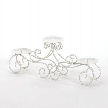 White Iron Tuscan Style Candle Stand