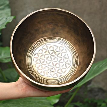 Authentic Nepal Hand Hammered Patterned Copper Singing Bowls