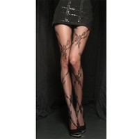 Angelina Criss-cross Floral Pattern, Spandex Fishnet Pantyhose, #5280