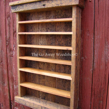 Barnwood display cabinet, shot glass rack