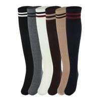 Women Thigh High School Fashion Stockings Stripe Knitted Footed Girl Socks
