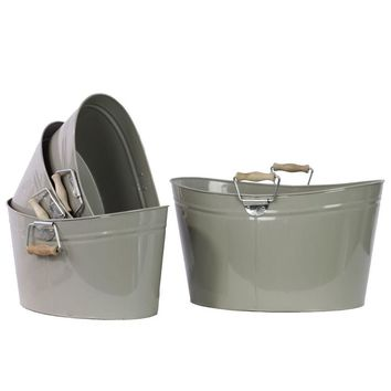 13308 Set Of Four Metal Oval Buckets With Wood Handle
