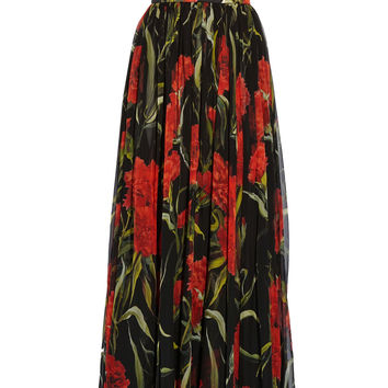 Dolce & Gabbana - Printed floral-brocade and chiffon gown
