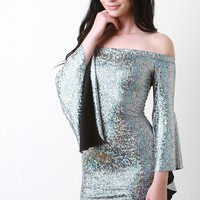 Holographic Bardot Trumpet Sleeve Dress