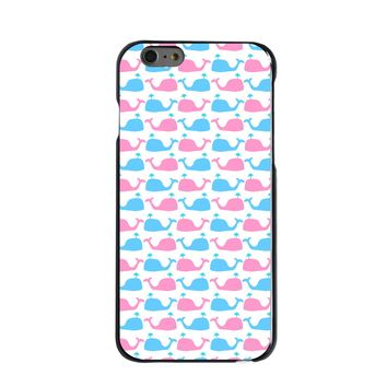 DistinctInk® Hard Plastic Snap-On Case for Apple iPhone - Blue Pink Cartoon Whales