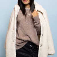 Mattan Cozy White Faux Fur Coat