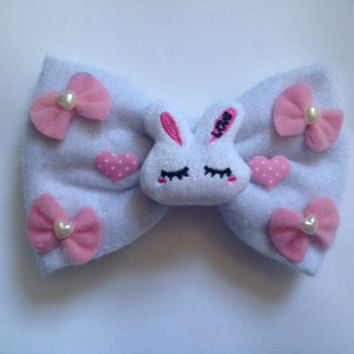Giant Sweet Lolita Hair Bow Large Bunny Rabbit Fairy Kei Kawaii Pastel Pink Hearts Heart Plush