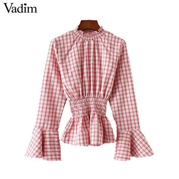 Vadim women sweet ruffled plaid shirts elastic waist flare long sleeve pleated blouse cute ladies autumn chic tops blusas LT2637