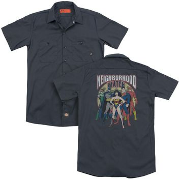 Jla - Neighborhood Watch (Back Print) Adult Work Shirt