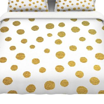 "Kess InHouse Nika Martinez ""Golden Dots"" White Yellow Cotton Twin Duvet Cover, 68 x 88"""