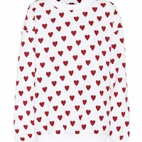 Heart print cotton-blend sweatshirt