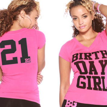 21st Birthday Gift T-shirt Pink V-Neck - 21st Birthday Outfit for Women, 21st Birthday Gift Ideas for Girls, Unique 21st Birthday Gift