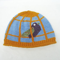 Birdcage Benie, Blue and Yellow Women hat, Funny handknitted hat, UK Seller