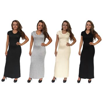 Women's Chic Casual Short Sleeve Long Maxi Dress 4-PACK MADE IN USA S, M, L.MAXI 4 PACK.L