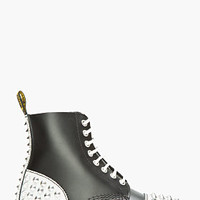 Dr. Martens Black Leather Crackled Studded Core Applique 1460 8-eye Boots for women | SSENSE
