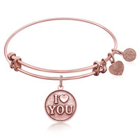 Expandable Bangle in Pink Tone Brass with I Love You Symbol