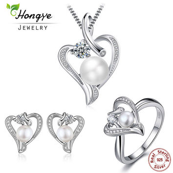 Hongye Romantic Heart Sterling Silver Jewelry Set Pearl Necklace & Earring&Ring For Women Girl Friend Wife Valentine's Day Gift