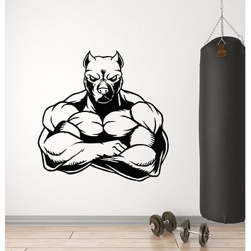Vinyl Wall Decal Muscled Dog Animal Pets Gym Fitness Decor Stickers Mural (g2919)