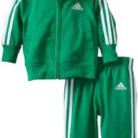 adidas Baby-Boys Infant ITB Iconic Tricot Set, Bright Green, 9 Months