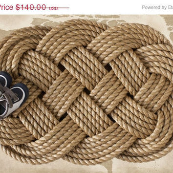 Large Rope Doormat: Nautical Sailor's Ocean Plait Celtic Knot Rug