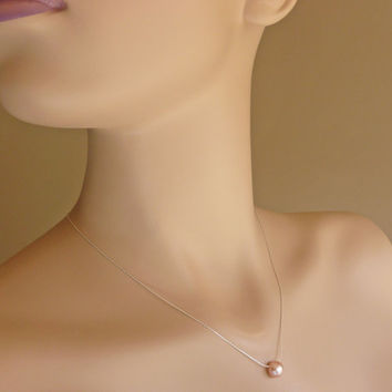 Floating Pearl Layering Necklace, Minimalist Peach Pink Freshwater Pearl Necklace in Sterling Silver, Sterling Silver / Gold Custom Lengths