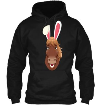 Easter Bunny Horse Face T-shirt Funny Easter Day Gift Pullover Hoodie 8 oz