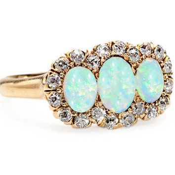Antique Opal Diamond Cluster Ring - The Three Graces