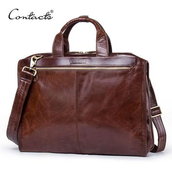CONTACT'S Portfolios Briefcase Laptop Bag High Quality Guaranteed Real Genuine Leather Men Messenger Bags Multifunction Handbags