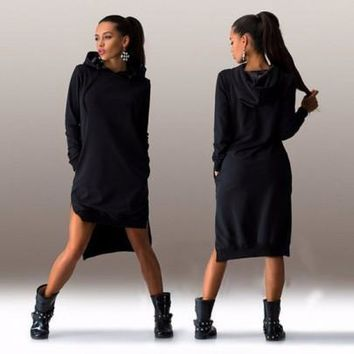 Black Side Split Long Sleeve Irregular Oversized Hooded Jumper Sweatshirt Dress