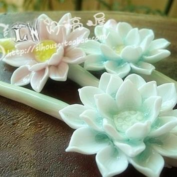 Ceramic Hairpin Lotus Small Bud Multi-Colored Handmade Hair Stick Elegant Chinese Style Barrettes Updo Bun Handmade Headdress