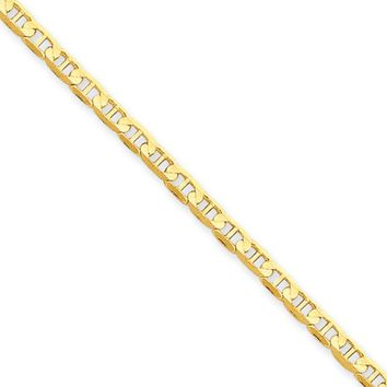 3mm, 14k Yellow Gold, Concave Anchor Chain Necklace, 18 Inch