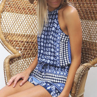 Playsuit Boho Style Romper in Blue