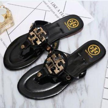 Tory Burch Trending Flip Flops Sandal Slipper Shoes Black I