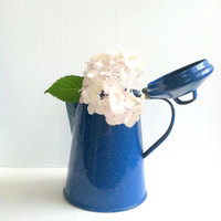 Antique Cinsa Blue Enamelware Coffee Pot/Farmhouse Decor/Re-Purposed Country Vase - Circa 1960's
