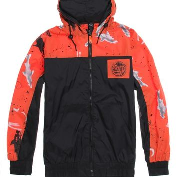 Maui & Sons Sharks! Windbreaker Jacket - Mens Jacket - Orange