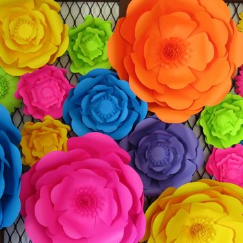 "Giant paper flower photo wall, set of 9 neon colors, 6-16"" large sculpted roses, teen bedroom decor, baby nursery wall hanging, mixed media wall art"
